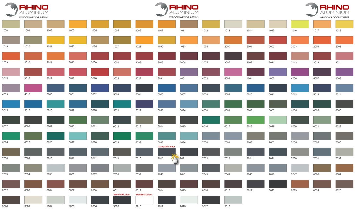 Colour Chart Ppc Colour Chart